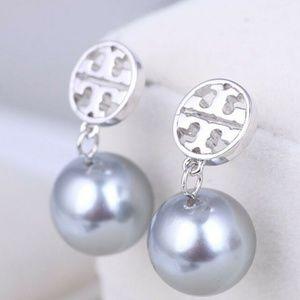 Tory Burch Earrings Silver Circle Logo Pearl Drop